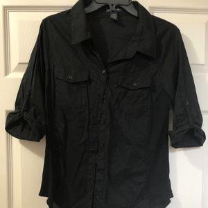 Zenana Outfitters, Black Button-Down